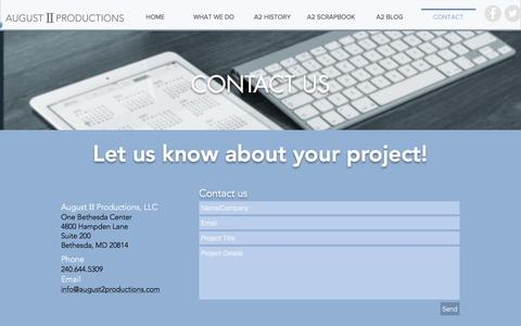 Screenshot of Contact Page august2productions.com - a2productions | CONTACT - captured Nov. 21, 2016