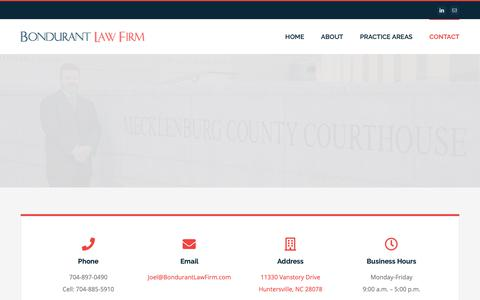 Screenshot of Contact Page bondurantlawfirm.com - Contact The Bondurant Law Firm Today | Charlotte NC | 704-897-0490 - captured May 16, 2019