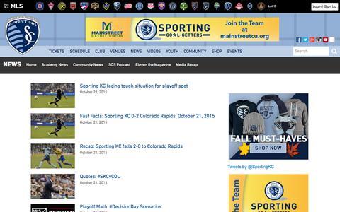 Screenshot of Press Page sportingkc.com - News | Sporting Kansas City - captured Oct. 22, 2015