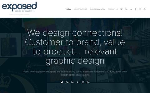 Screenshot of Home Page exposed.co.uk - Graphic Design in London | Exposed Design Consultants - captured Sept. 30, 2018