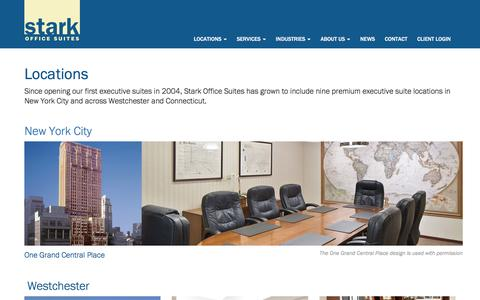 Screenshot of Locations Page starkofficesuites.com - Fairfield County, Westchester NY, NYC, Virtual Offices, Office Suites   Stark Office Suites - captured Feb. 10, 2017
