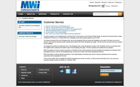 Screenshot of Support Page mwiconsultants.ca - Customer Service - captured Oct. 4, 2014