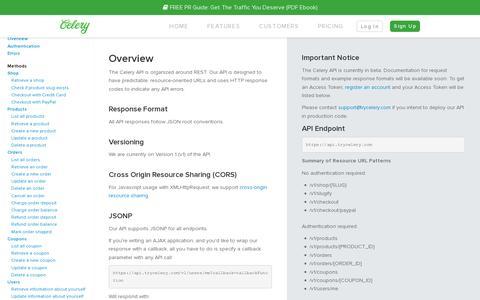 Screenshot of Developers Page trycelery.com - Developer   Celery - captured July 19, 2014