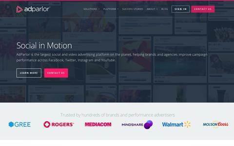 Screenshot of Home Page adparlor.com - AdParlor. Facebook, Twitter, Instagram and YouTube Advertising. Social media marketing. - captured Sept. 26, 2015