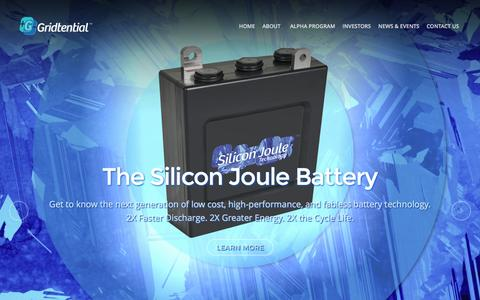 Screenshot of Home Page gridtential.com - Gridtential Energy, Inc. | - captured Feb. 21, 2016