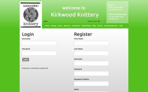Screenshot of Login Page kirkwoodknittery.com - Kirkwood Knittery - captured June 21, 2016