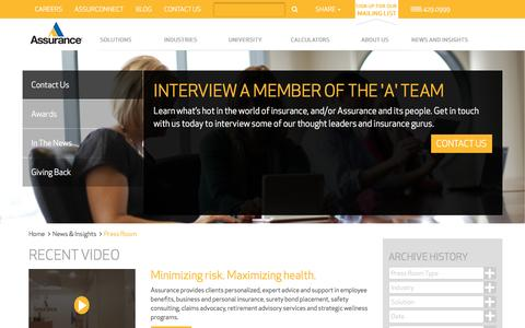 Screenshot of Press Page assuranceagency.com - Press Room | Assurance Agency - captured Nov. 21, 2016