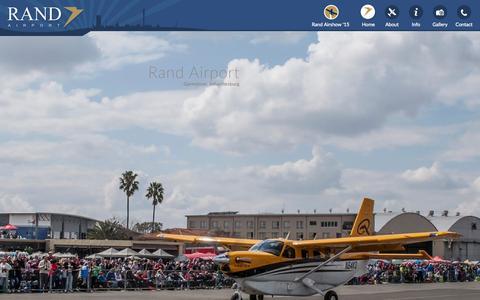 Screenshot of Home Page randairport.co.za - Rand Airport - Germiston, Johannesburg - FAGM - captured Aug. 16, 2015