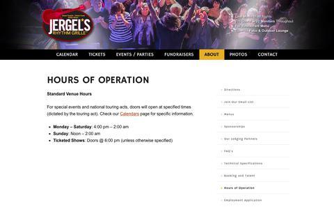Screenshot of Hours Page jergels.com - Hours of Operation - Jergel's Rhythm Grille - captured Sept. 25, 2018