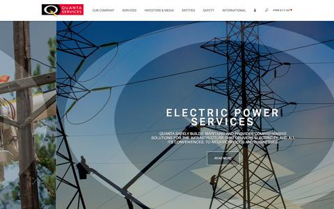 Screenshot of Home Page quantaservices.com - Quanta Services ǀ Home ǀ Leader in Electric Power, Oil & Gas Industries - captured Feb. 9, 2016