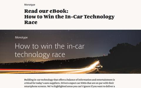 Screenshot of Landing Page monotype.com - In-Car Technology eBook   Monotype - captured Sept. 19, 2018