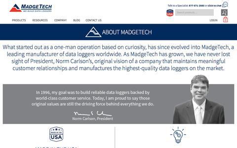 Screenshot of About Page madgetech.com - About Us   MadgeTech - captured Sept. 1, 2019