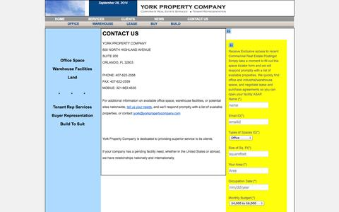 Screenshot of Contact Page yorkpropertycompany.com - CONTACT US   - captured Sept. 30, 2014
