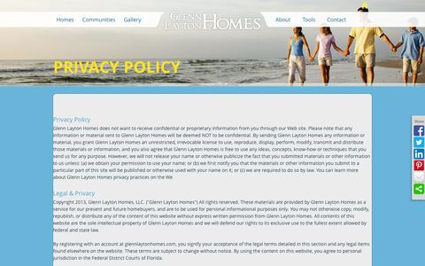 Screenshot of Privacy Page glennlaytonhomes.com - Glenn Layton Homes - Homebuyer Tools - captured Sept. 30, 2014