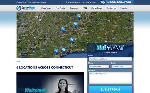 Screenshot of Contact Page cartermario.com - Connecticut Personal Injury Lawyer | Carter Mario Injury Lawyers - captured Oct. 2, 2014