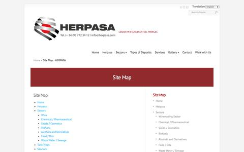 Screenshot of Site Map Page herpa.es - Site Map - HERPASA - captured Oct. 5, 2016
