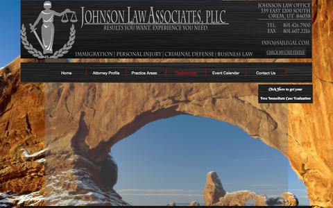 Screenshot of Testimonials Page sajlegal.com - Testimonials - captured Feb. 11, 2016