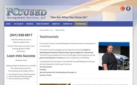 Screenshot of Testimonials Page focusedmanagementservices.com - Client Success Testimonials | Sarasota Small Business Coaching - Focused Management Services - captured Sept. 26, 2016