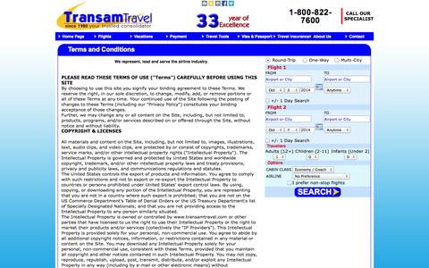 Screenshot of Terms Page transamtravel.com - TransamTravel - Best Consolidator,cheap fares, discounted fares from USA to Worldwide - captured Sept. 30, 2014