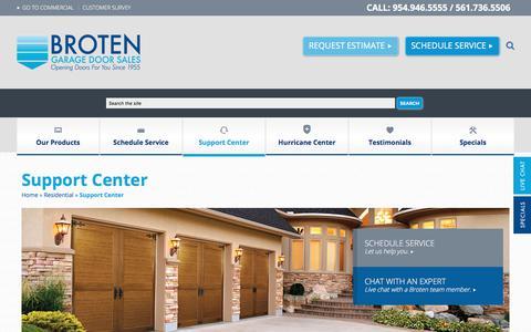Screenshot of Support Page broten.com - Support Center | Broten Garage Door Sales - captured May 17, 2018