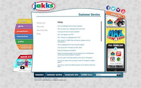 Screenshot of FAQ Page jakks.com - FAQs   JAKKS Pacific - captured Feb. 11, 2016