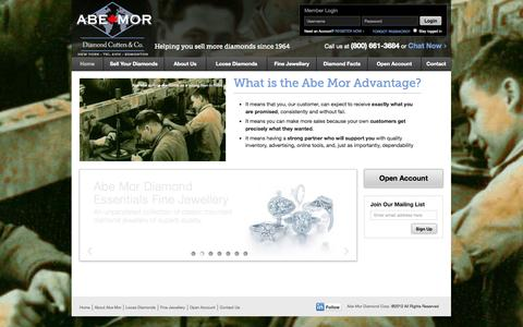 Screenshot of Home Page abemor.ca - Abe Mor Diamond Cutters & Co. - captured Oct. 5, 2014
