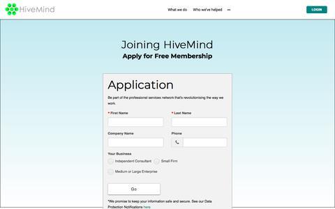 Screenshot of Signup Page hivemindnetwork.com - Joining HiveMind   - captured July 20, 2018