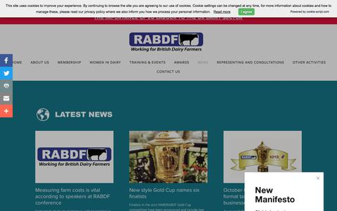 Screenshot of Press Page rabdf.co.uk - News — The Royal Association of British Dairy Farmers (RABDF) - captured Oct. 23, 2017