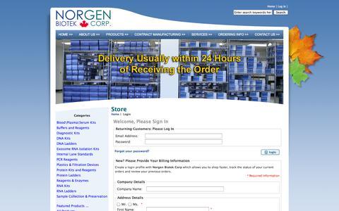 Screenshot of Login Page norgenbiotek.com - Login : Norgen Biotek Corporation, The Sample Preparation Experts - captured Oct. 7, 2014