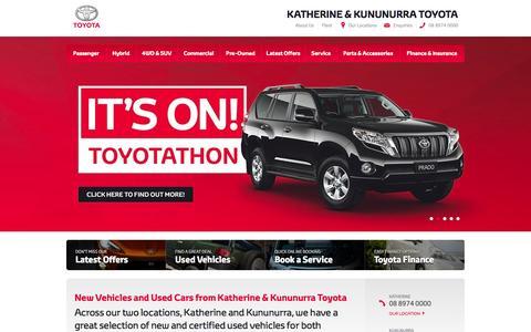 Screenshot of Home Page katherinetoyota.com.au - New Vehicles and Used Cars from Katherine & Kununurra Toyota - captured Sept. 30, 2014