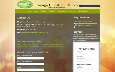 Screenshot of Contact Page cayugachristian.org - Contact «  Cayuga Christian Church - captured Jan. 26, 2016