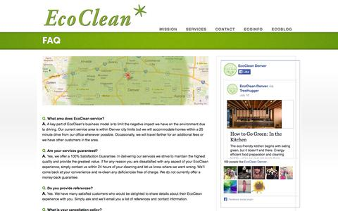 Screenshot of FAQ Page ecocleandenver.com - FAQ - EcoClean- Green House Cleaning - captured Sept. 29, 2014