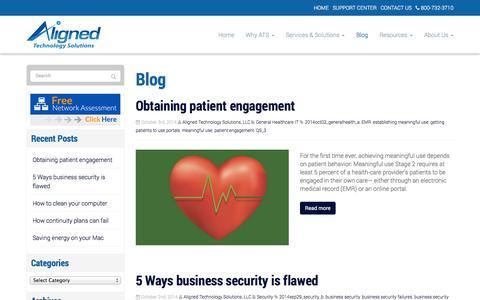 Screenshot of Blog alignedtechnologysolutions.com - Blog - Alexandria, Arlington, Tyson's Corner | Aligned Technology Solutions, LLC - captured Oct. 4, 2014