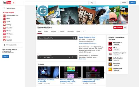 Screenshot of YouTube Page youtube.com - GamerGuides  - YouTube - captured Oct. 27, 2014