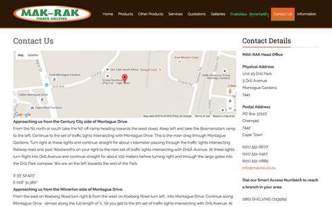 Screenshot of Contact Page makrak.co.za - Contact Us - Makrak - captured Feb. 4, 2016