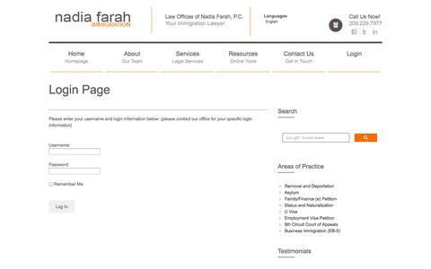Screenshot of Login Page lawofficesofnadiafarah.com - Law Offices of Nadia Farah, P.C. - Immigration Attorney Services - captured Oct. 2, 2014