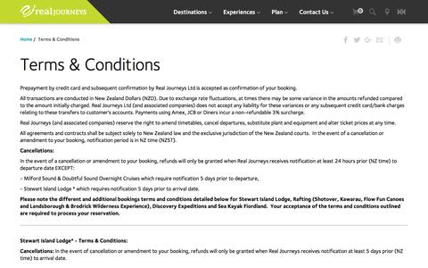 Screenshot of Terms Page realjourneys.co.nz - Real Journeys NZ: Terms & Conditions, cancellation policy - captured Dec. 5, 2016