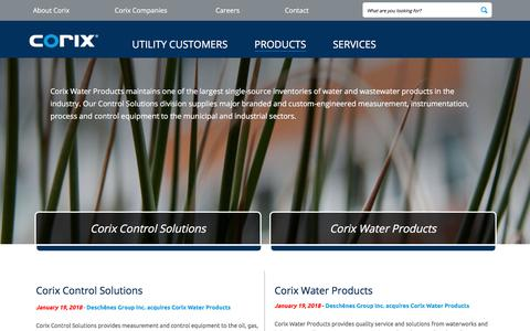 Screenshot of Products Page corix.com - Distribution of Water Products and Control Solutions | Corix - captured Sept. 25, 2018