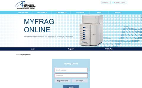 Screenshot of Login Page aati-us.com - myFRAG Online - Advanced Analytical Technologies, Inc. (AATI) - captured Oct. 7, 2017
