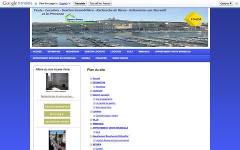 Screenshot of Site Map Page agenceazurea.com - azurea agence immobilière marseille estimation  gestion immobilière FNAIM - captured Oct. 4, 2014