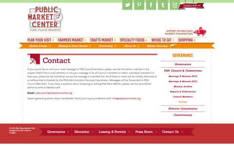 Screenshot of Contact Page pikeplacemarket.org - Pike Place Market - captured Sept. 24, 2014