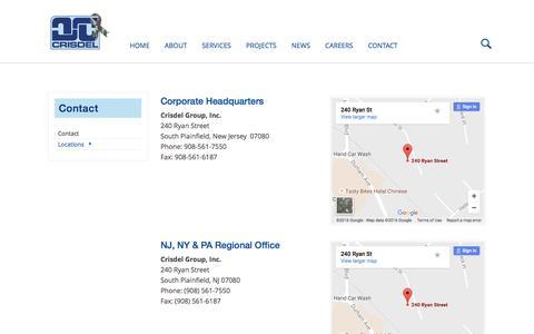 Screenshot of Locations Page crisdel.com - Crisdel Construction Corporate Headquarters | South Plainfield, NJ - captured Nov. 14, 2016