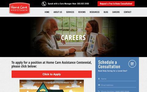 Screenshot of Jobs Page centennialhomecareassistance.com - Careers | Home Care Assistance Centennial - captured Nov. 11, 2016