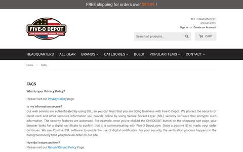 Screenshot of FAQ Page thefiveodepot.com - FAQs   Five-O Depot - captured Nov. 7, 2017