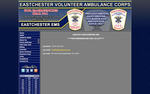 Screenshot of Contact Page eastchesterems.com - Eastchester Volunteer Ambulance Corps - Westchester, NY - captured Oct. 19, 2016