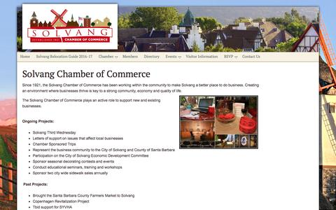 Screenshot of About Page solvangcc.com - About the Solvang Chamber of Commerce - Solvang Chamber of Commerce - captured Jan. 3, 2017