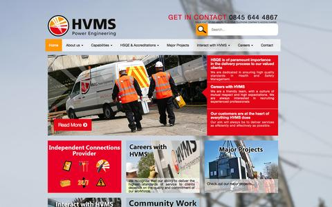 Screenshot of Home Page hvms.co.uk - HVMS are market leading providers of turnkey, cost effective power engineering services to our clients - HVMS - captured July 17, 2015