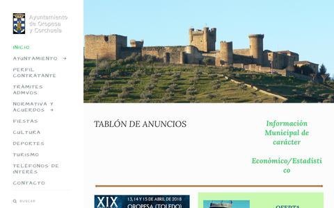 Screenshot of Home Page oropesadetoledo.es - Ayuntamiento Oropesa de Toledo - Oropesa Toledo - captured April 23, 2018