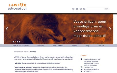 Screenshot of Testimonials Page lawfox.nl - LAWFOX  Testimonials - LAWFOX - captured Oct. 28, 2014