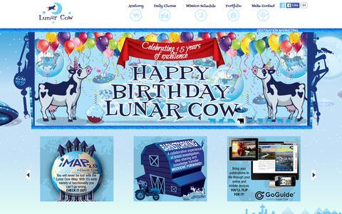 Screenshot of Home Page lunarcow.com - Destination Marketing � Advertising Agency - Lunar Cow Design - captured Jan. 16, 2016